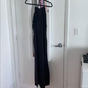 Backless maxi dress with fringe